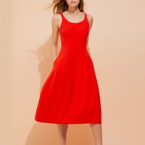 Halston Heritage red sleeveless midi dress